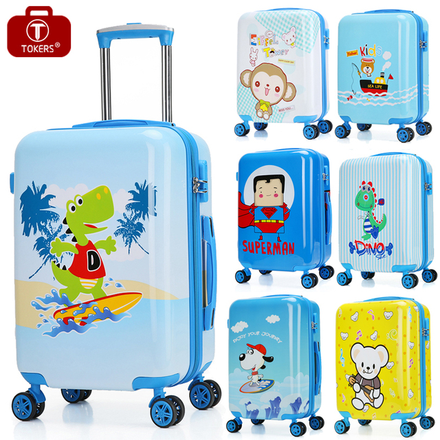 Tokers Child Suitcase For Boy Kids Travel Bag Carry On Wheels Rolling Case