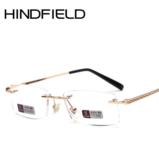 b25961d5f86 Hindfield 2017 New Rectangle Reading glasses Men Rimless glasses Women  Classic Readers Degree glasses High quality O404