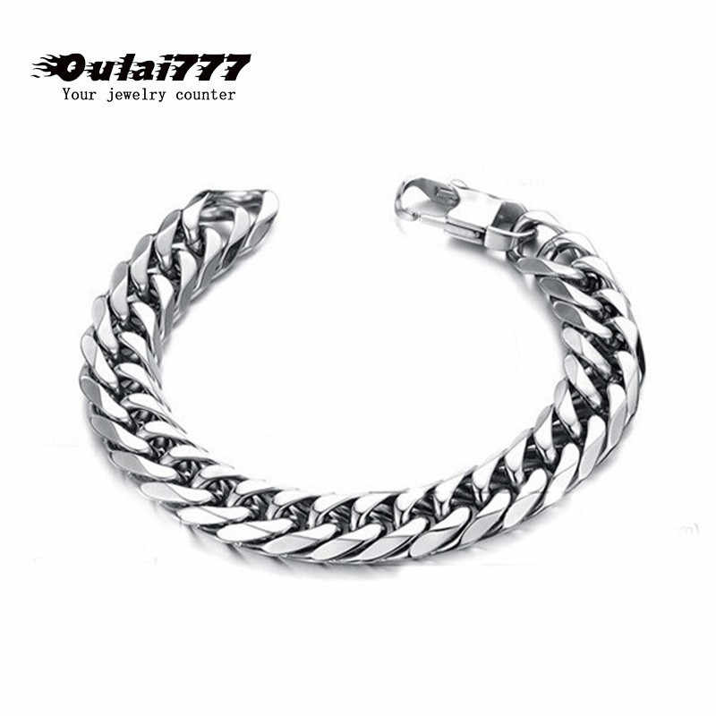 oulai777 mens bracelet chain for men stainless steel male cuban link chain on hand men accessories man's chain bracelets bracel