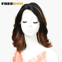 FREEDOM Lace Front Wig Short Loose Wave Synthetic Hair 16 Inch Wigs Ombre blonde wig New Colors Mixed Cosplay Free Shipping