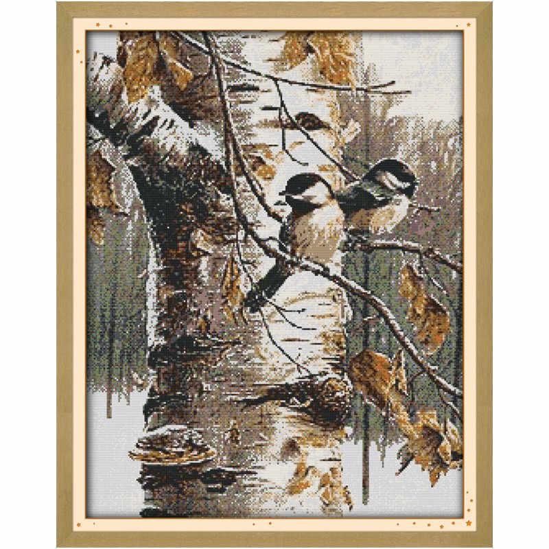 Uccelli di autunno Cinese Contati Schemi A Punto Croce Kit di Ricamo Croce Imposta 14CT 11CT Stampato Su Tela di Canapa DMC a punto Croce kit
