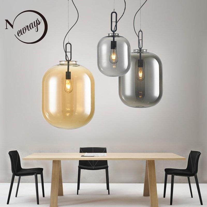 Nordic post modern creative glass single head E27 pendant light for dining room living room bedroom