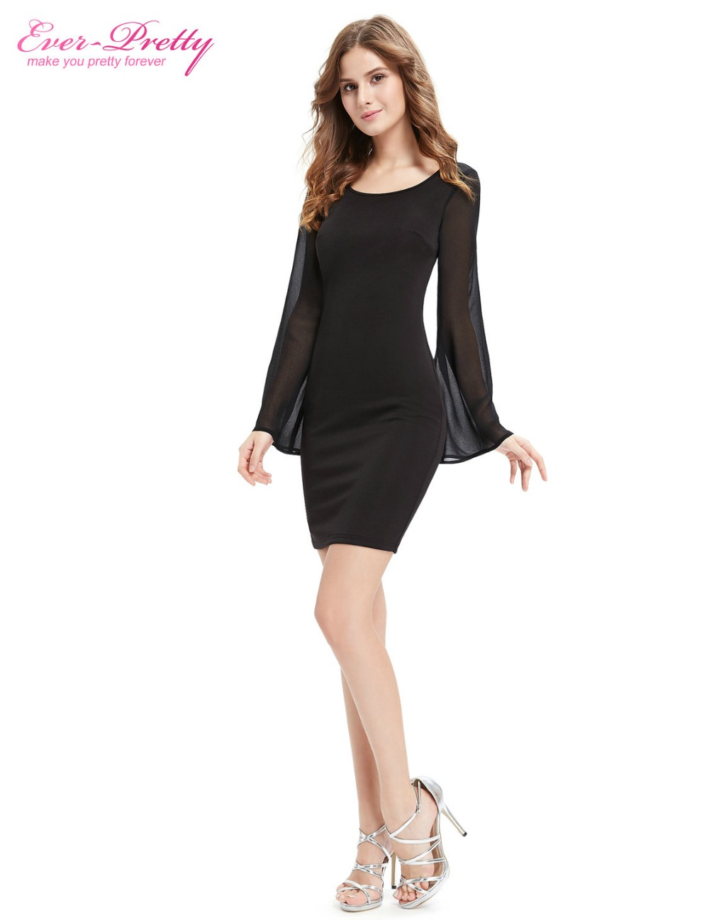 Ever Pretty Casual Dresses Ap05390bk Women S Beautiful Simple Fashion Long Sleeve Black Round Neck Short 2016 In From