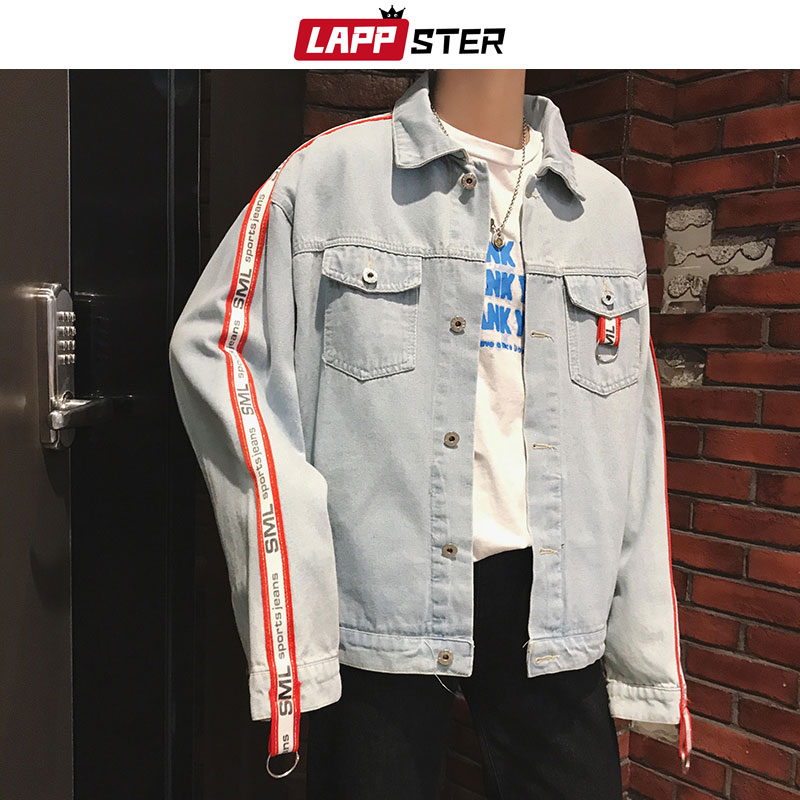 LAPPSTER Men Streetwear Side Striped Blue Jean Jackets 2020 Man Japanese Streetwear Harajuku Denim Jacket Windbreaker INS Ribbon