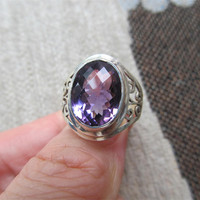 Nepal India Sterling Silver Ring Embedded Purple Crystal Zircon Cut Surface The Code Number