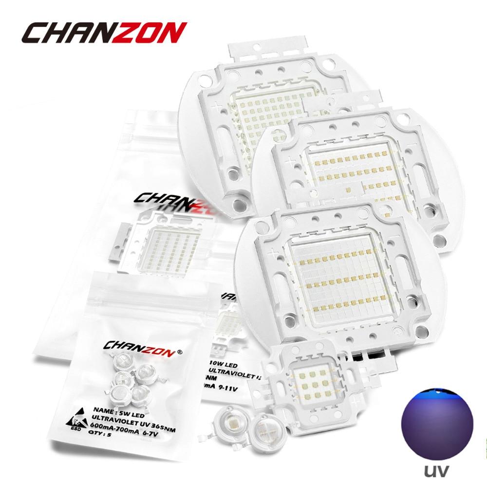 UV de alta potencia LED púrpura Chips 365nm 370nm 375nm 385nm 395nm 400nm 405nm 425nm COB luces ultravioleta 3W 5W 10W 20W 30W 50W 100W