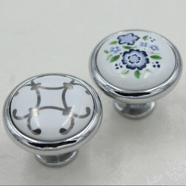 32mm Silver Kitchen Cabinet Pulls,blue Flower Ceramic