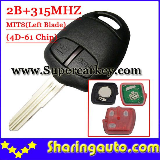 Free shipping (1piece) 2 Button Remote Key MIT8 uncut blade with 4d-61 chip 315MHZ For Mitsubishi free shipping 2 button remote key hu87 blade with id46 chip 433mhz for suzuki swift yy 1piece