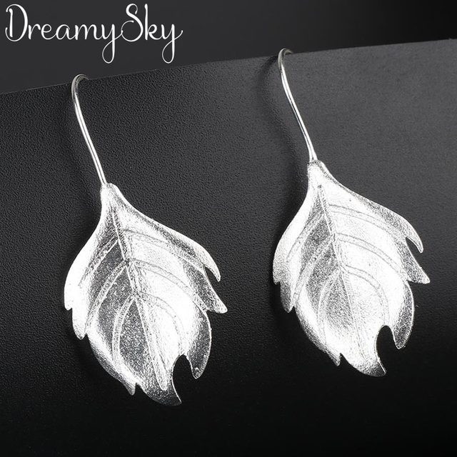 DreamySky 100% Real 925 Sterling Silver Simple Large Big Leaf Earring For Women Party Jewelry Gift Pendientes joyas de plata 925