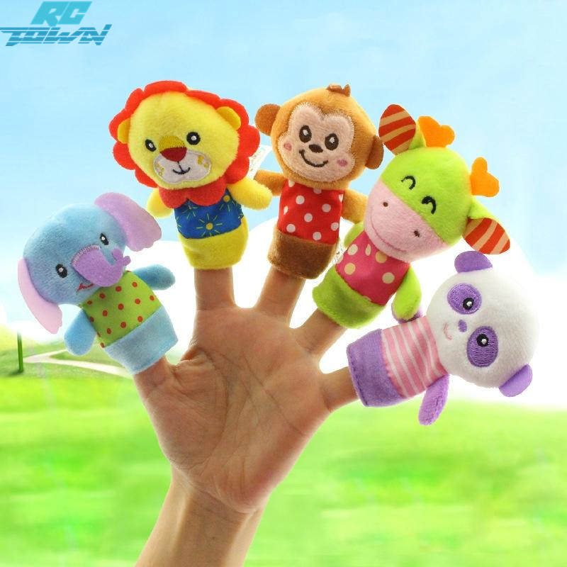 RCtown 5Pcs/lot Family Finger fantoches de dedo Puppets Cloth Doll Baby Educational Hand Toy Story Kid zk 30