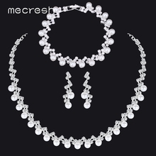 hot deal buy mecresh simple simulated pearl bridal jewelry sets silver color crystal wedding necklace sets jewelry christmas gift tl347+sl141