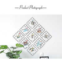 Nordic Style Metal Mesh Grid Wall Photos Grids Pictures Postcards Frame Iron Home DIY Decorative Shelves