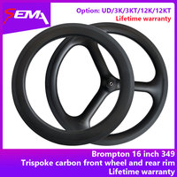 Пожизненная гарантия карбоновые колеса для велосипеда brompton 16 дюймов tritaled carbon переднее колесо и задний обод Многоцелевой супер свет