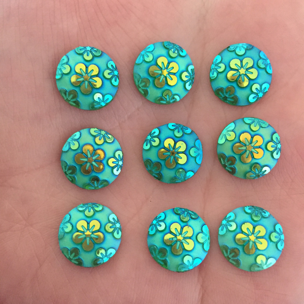 Wedding Flowers In Resin: (60 Pieces/lot) Green AB Round Resin Flower Flatback
