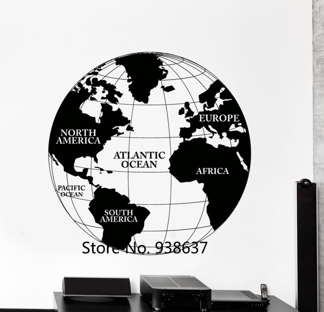 World map vinyl wall decal atlas continents africa europe noth world map vinyl wall decal atlas continents africa europe noth america decor removable wall stickers living gumiabroncs Images