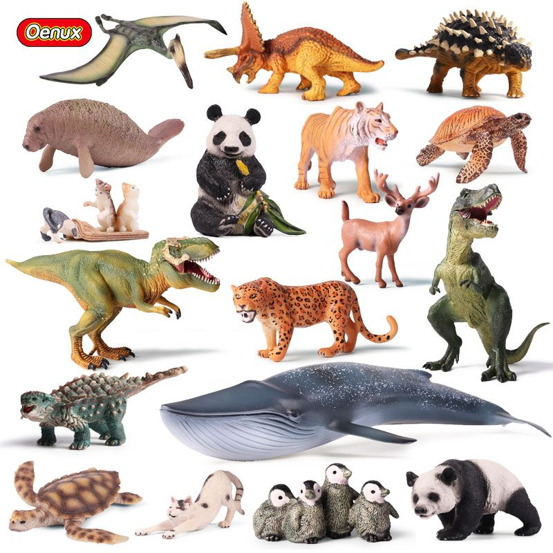 Oenux Animals Series Action Figures Dinosaur Marine Animal Bird Wild Animals Original High Quality Model Brinquedo Toy For Kids recur toys high quality horse model high simulation pvc toy hand painted animal action figures soft animal toy gift for kids