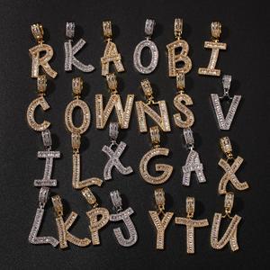 Image 5 - Uwin moda jóias cor do ouro baguette carta pingente colar inglês letras iniciais iced para fora cúbico zriconia hiphop jóias
