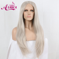 Aurica Light Grey Heat Safe Synthetic Hair Lace Front Wig For Women