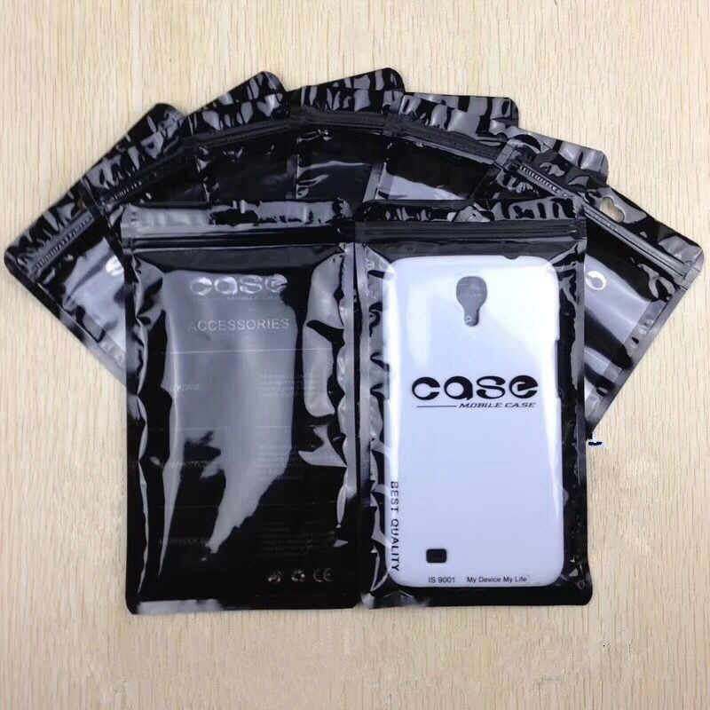 1000pcs 12*21cm Zip lock Plastic Retail Poly storage bags Black translucent Grocery Crafts Electronics Self Seal Packaging Pouch