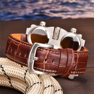Image 4 - OULM 1167 Mens Vintage Steam Punk Leather Band Watches 3 Time Zone Japan MOVT Casual Quartz Watch