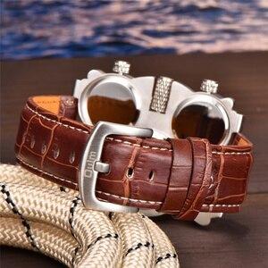 Image 4 - OULM montre à bracelet vapeur en cuir pour hommes, Vintage, 3 zones horaires, MOVT 1167, japon