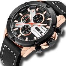 שעון גברים ספורט הכרונוגרף קוורץ יד שעונים חם אופנה מותג CURREN עור Relog Hombre מים Resistence עם לוח שנה