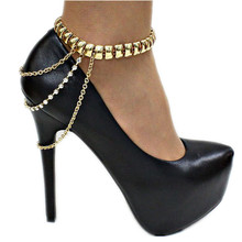Punk Style Tassel Gold Tone Crystal Summer Style Chain Ankle Bracelet Anklet CA017