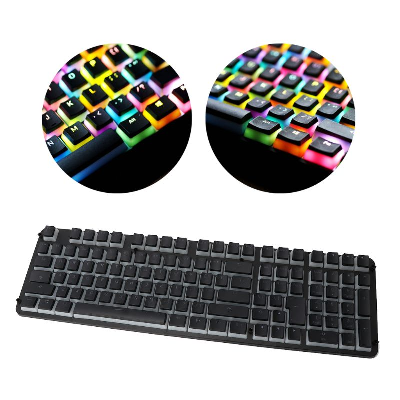 RGB 110 Keycaps ANSI Layout Add ISO PBT Pudding Double Skin Milk Shot Backlit Keycap With Keycap Storage Board For OEM Cherry