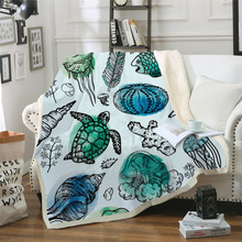 Sofa cushion Yoga mat Blanket Air Conditioner Thick Double-layer Plush 3D Digital Printed Turtle Series