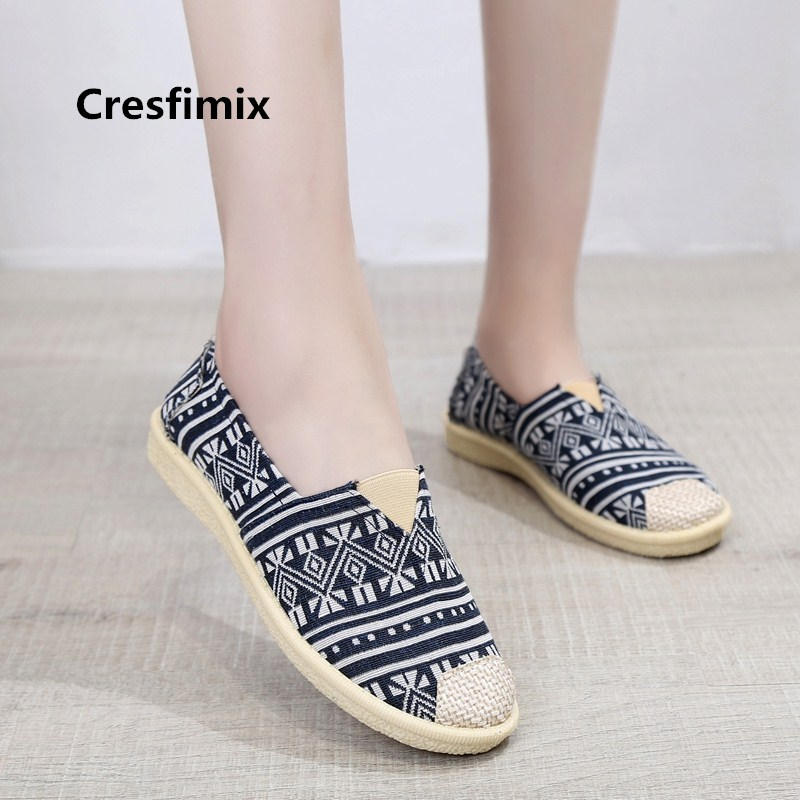 Cresfimix zapatos de mujer women casual pattern soft flat shoes female comfortable summer cloth slip on lady cute red shoes a245 cresfimix women casual pu leather slip on flat shoes lady casual white flats female soft and comfortable loafers zapatos