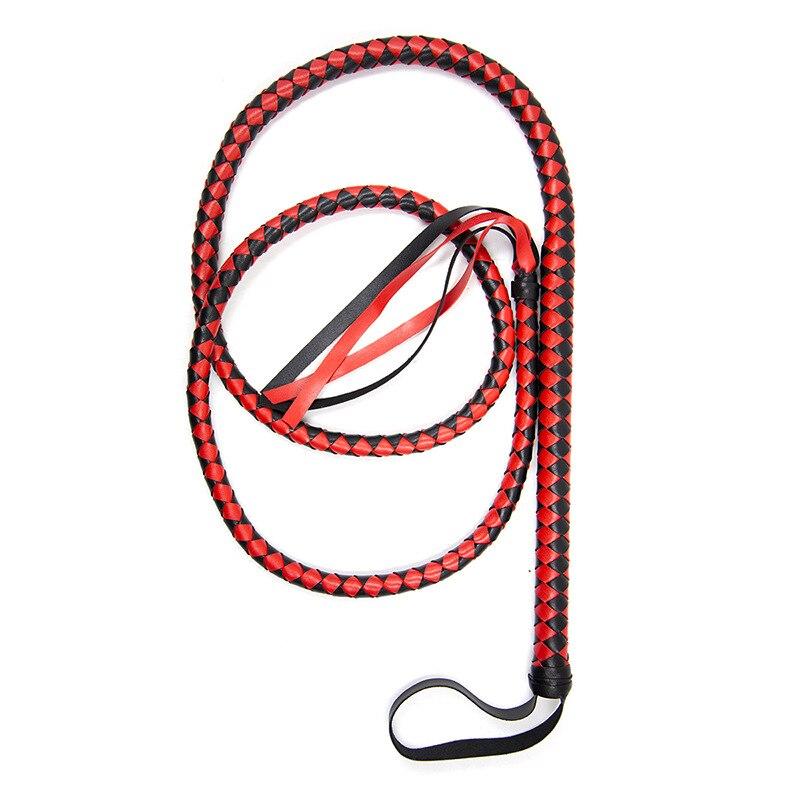 Látigo de cuero de serpiente hecho a mano de 190 cm con mango de amarre paleta de azotes esparcidos látigo erótico juguetes sexuales para juegos de adultos