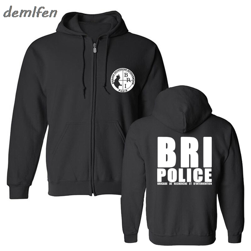 France French Special Elite Police Forces Hoodie Unit GIGN Raid BRI Sweatshirt Man Black Zipper Fleece Hoody Jacket Harajuku sweatshirt