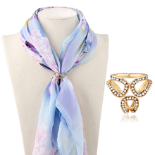 Fashion Women Elegant Lady Golden Silvery Crystal Scarf Ring Silk Scarf Scarves Accessories