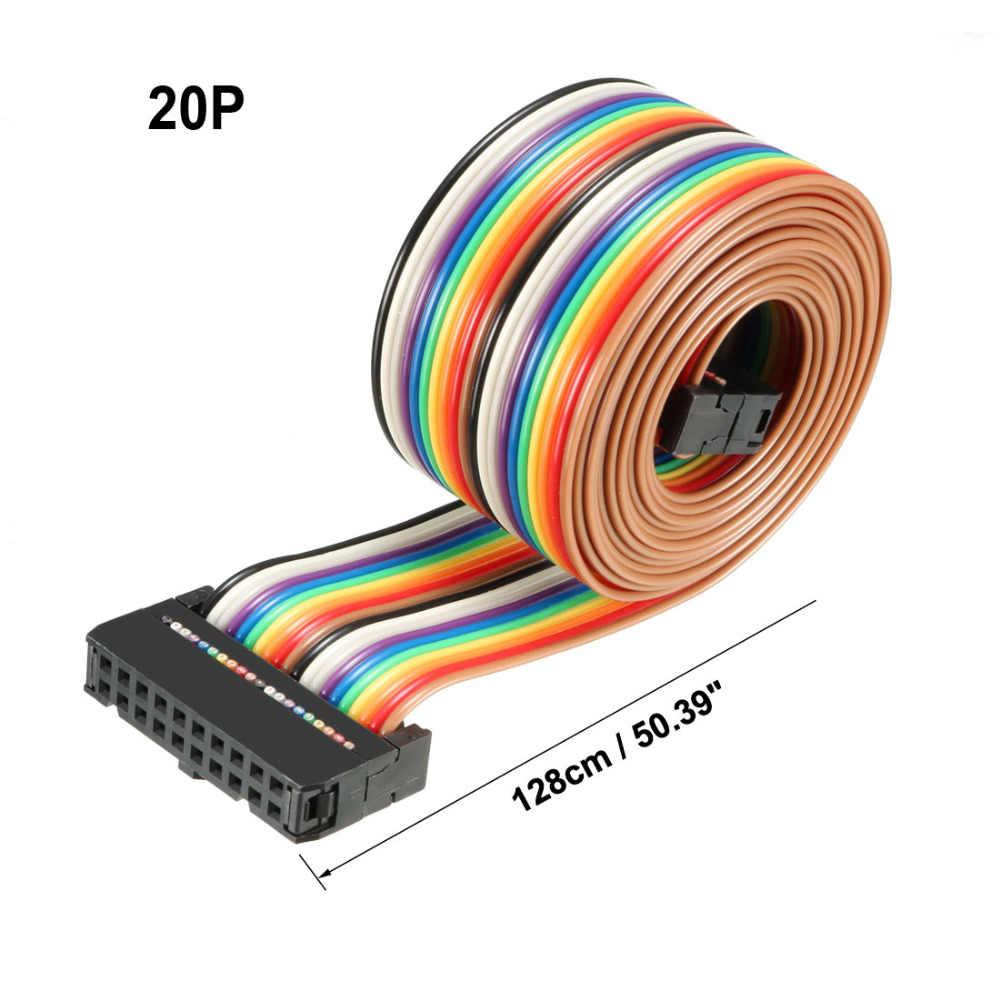 Uxcell 1 sztuk IDC 20 pinów Rainbow/szary kolor 2.54mm 48/66/118/128 cm długie płaskie zginalny wstążka kabel jumper złącze żeńskie
