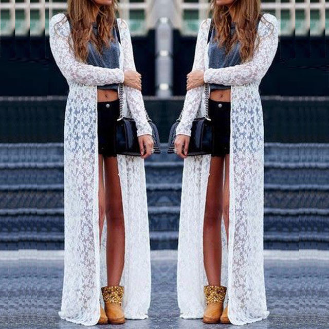 50245fbd2e2bb 2017 Summer Boho Maxi Lace Floral Crochet Beach Cover Up Long Top Shirt Cardigan  Top Blouse