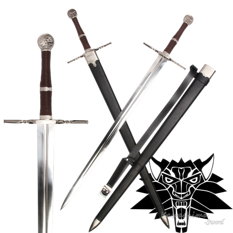 Pedang Abad Pertengahan Stainless Steel Untuk Video Game The witcher3: Liar Berburu Replika Geralt dari Rivia Blade Brand New No Tajam Supply
