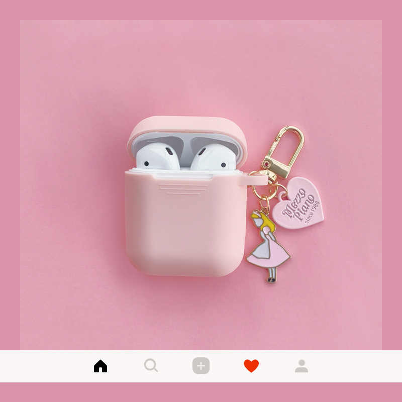 Cute Alice Silicone Case for Apple Airpods Case Accessories Bluetooth Earphone Cartoon Protective Cover Alice Girl Key Ring