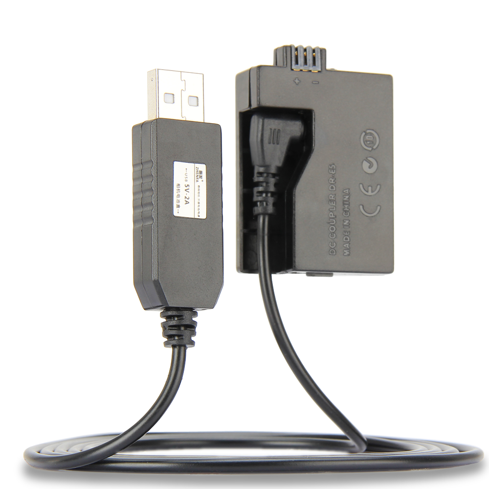 5V USB ACK-E5 Drive Cable Power adapter LP-E5 dummy battery DR-E5 DC Coupler grip for Canon EOS 450D 500D 1000D XS XSi T1i цена