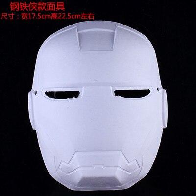 Кричащие призраки DIY пустые Вечерние Маски белая бумажная целлюлоза окружающей среды Изобразительное искусство живопись программы Маскарад полное лицо маски 10 шт - Цвет: iron Man