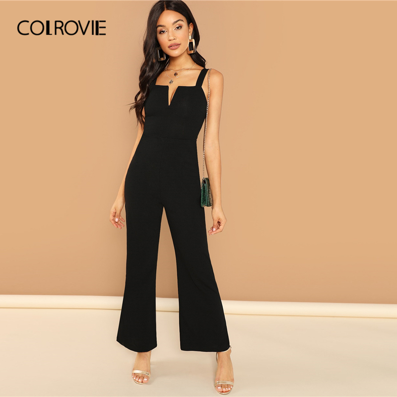 COLROVIE Burgundy Solid V Notch Flare Leg Long Party   Jumpsuit   Rompers Women Clothes Black Elegant Sleeveless Sexy   Jumpsuits