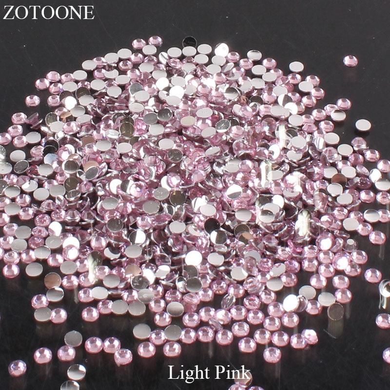 ZOTOONE 2-6 мм 1000 шт прозрачные Стразы AB без горячей фиксации плоские с оборота Стразы для ногтей для одежды ногти 3D дизайн ногтей украшения - Цвет: Light Pink
