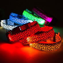 Dog Collar Personalized  Nylon Leopard-print Led Luminous Dog Collars Led  Glow Necklace  Let the Dog Walk Safely at Night все цены