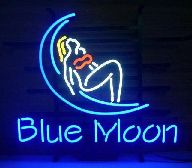 Custom BLUE MOON Neon Light Sign Beer Bar