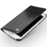 2015 Newest Qialino Genuine Real Leather Card Holder Flip Wallet Ultra Thin Magnetic Case Cover For