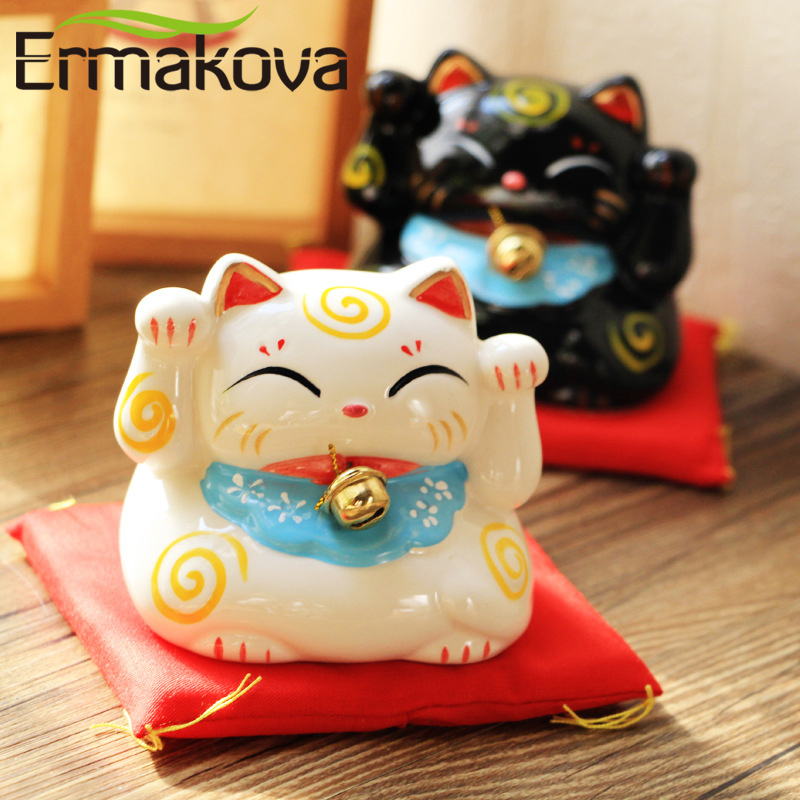 ERMAKOVA 3 Inch Ceramic Lucky Cat Piggy Bank Porcelain Ornament Fortune Cat Money Box Craft Birthday Gift Home Office Decor