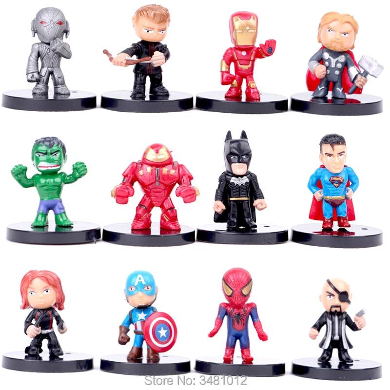 12pcs//lot The Avengers 3 Miniatures  PVC Action Figures Spiderman Figurines Kids