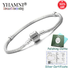 Sent Certificate! 100% 925 Solid Silver Charm Bracelets for Women Long 16-23cm Snake Bone Bracelets Wedding Jewelry KPL005(China)