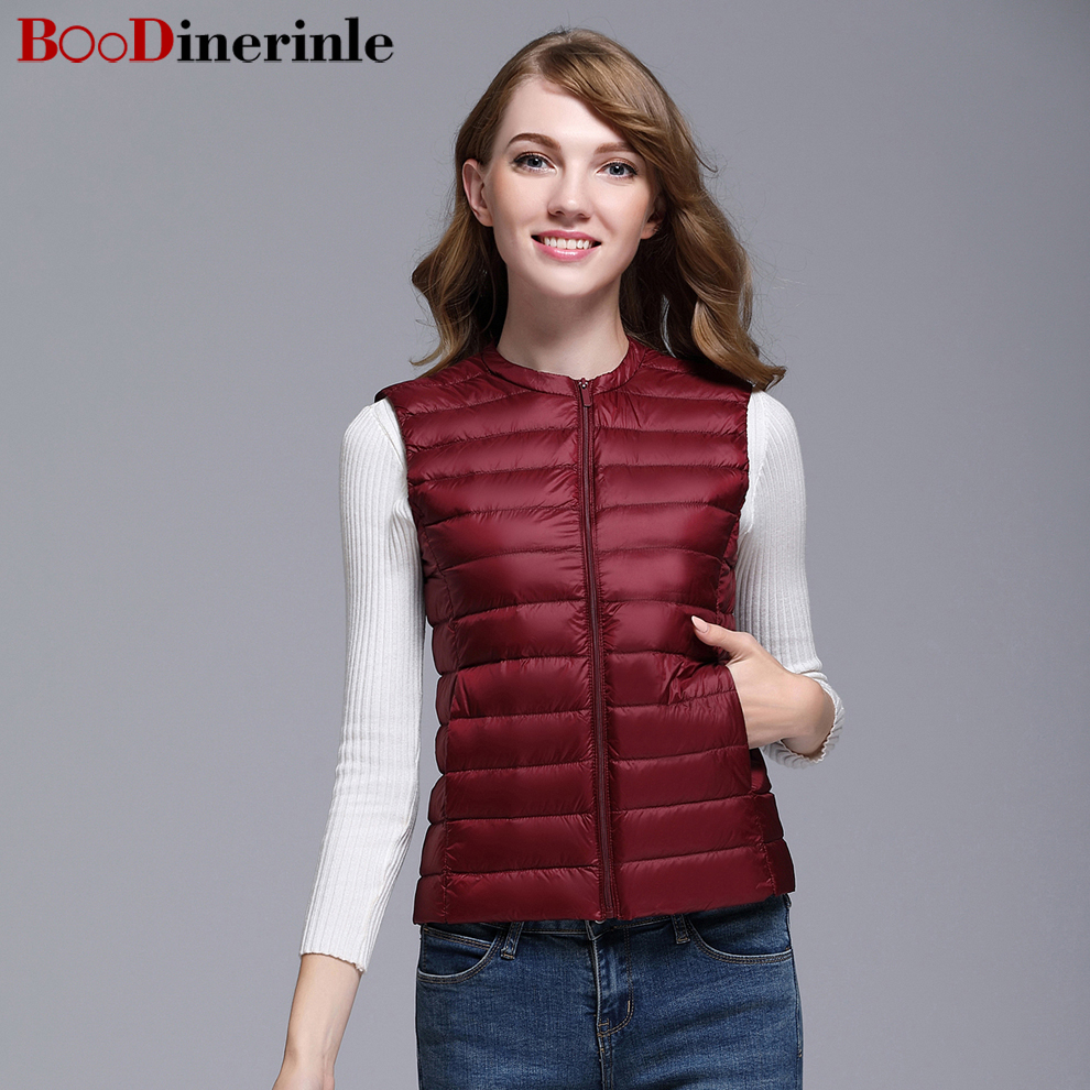 BOoDinerinle Plus Size Women Warm Winter Light Thin White Duck Down Jacket Vest Simple Wild ultra light down jacket women YR018