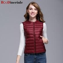 BOoDinerinle Plus Size Women Warm Winter Light Thin White Duck Down Jacket Vest Simple Wild ultra light down jacket women YR018 цена