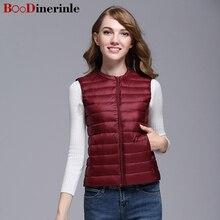 BOoDinerinle Sleeveless Jacket Women Ultra Thin Down